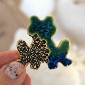 ceramiczna żabka - magnes na lodówkę, żaba, ceramiczny magnes
