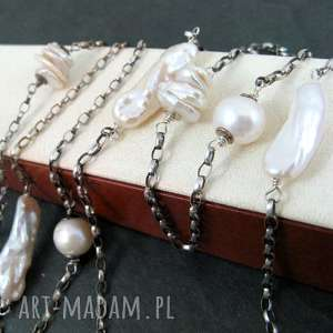 perły długi naszyjnik - perły, keshi