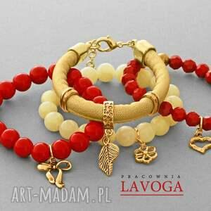 ręcznie robione bransoletki red, cream jade, crystal & golden strap set