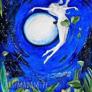 księżycowa kobieta mocy akwarela artystki plastyka adriany laube, kąpiel, noc