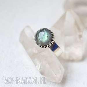 Królewski pierścień z labradorytem dziki krolik pierścionek