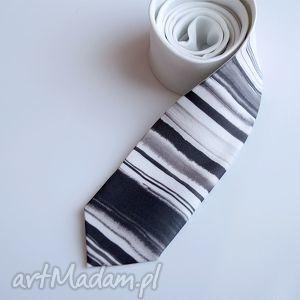 Prezent Krawat w paski tuszem, krawat, nadruk, paski, biały, prezent, śledź