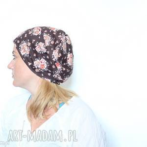 ręcznie wykonane czapki czapka kolorowa dzianinowa w kwiaty