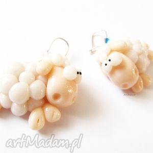 hand-made kolczyki kolczyki białe owieczki z kryształkami swarovski