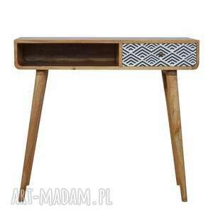 biurko drewno konsola z monochromatyczną szufladą skandynawski styl, lite