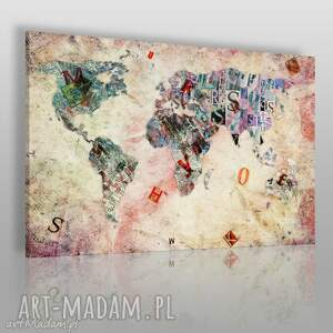 obrazy obraz na płótnie - mapa litery 120x80 cm 18501 , mapa, litery, kontynenty