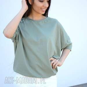 szeroka luźna bluzka nietoperz oversize khaki, bawełna, dzianina, eko, ponczo