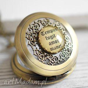 ♥ Czas przemija, miłość pozostaje Brązowy łańcuszek, zegarek, zawieszka, łańcusze