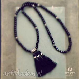 Naszyjnik boho czarno srebrny, boho, elegancja, klasyka, korale, szkło, chwost