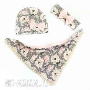 komplet wiosenny różowe kwiaty, czapka, chusta, komin, wiosna, lato, bawełna