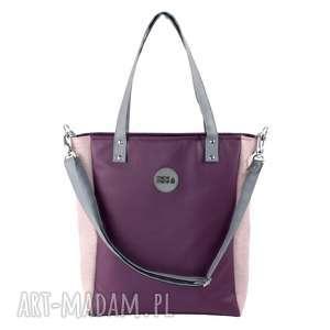 torba cuboid pink rasp plum, pojemna, do pracy, szkoły, kolorowa, na zakupy