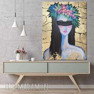 abstrakcyjny obraz ręcznie malowany kobieta ze złotem - miss with a wreath