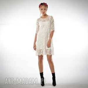 sukienki świetlana midi - koronkowa sukienka ecru, koronkowa, ślubna