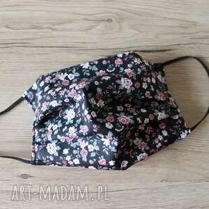 Maseczka bawełniana - różyczki na czarnym tle maseczki torebki
