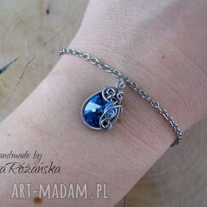Bransoletka Swarovski Mini Pear Bermuda Blue, wire wrapping, bransoletka