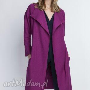 płaszcz, pa101 fuchsia - płaszcz, trencz, casual, pasek, amarant, szlafrokowy