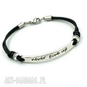 hand-made bransoletka never give up czarna cyna i stal