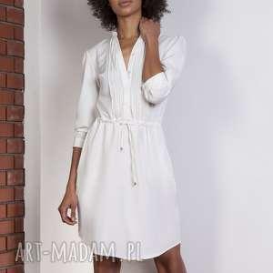 sukienka ze szczypankami, suk149 ecru, casual, sukienka, szczypanki, wiązanie, luźna