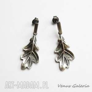 dębowe listki - kolczyki srebrne, srebro, kolczyki, oksyda, dębowe, biżuteria