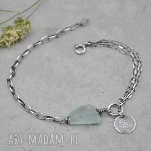 srebrna bransoletka z akwamarynem - 129, srebro, oksydowane surowa