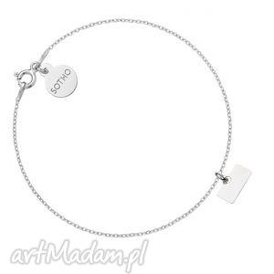 srebrna bransoletka z minimalistyczną blaszką, zawieszka, blaszka