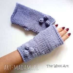 rękawiczki mitenki, wełniane, na-drutach, cieple