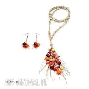 słoneczna jesień komplet biżuterii, koral, jesień, lekki, długi, lniany