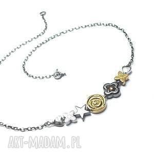 flower /short/ vol 2 - naszyjnik, srebro, oksydowane, hematyty, kwiaty naszyjniki