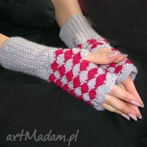 handmade rękawiczki malinowo-szare mitenki