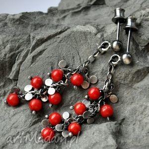 koral czerwony- misterne kolczyki, koral, srebro, oksydowane, romantyczne biżuteria
