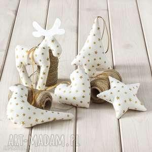 Upominek święta! Ozdoby choinkowe białe w złote gwiazdki