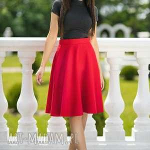 Spódnica rozkloszowana z tkaniny, T202, czerwona, spódnica, rozkloszowana, zamek