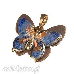 Prezent C240 wisiorek motyl miedziane emaliowane , wisiorek-motyl, motyl-kolorowy