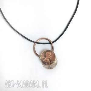 wisiorek z monetą 1 cent usa twoja data, cent, moneta, bogactwo