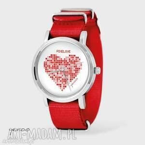 ręcznie zrobione zegarki zegarek, bransoletka - serce pikselove - czerwony, nato