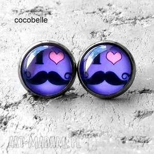 i love mustache - kolczyki z grafiką, wąsy, mustache, zabawne, cool, trendy