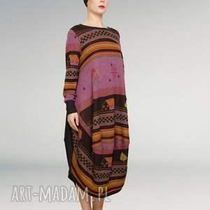 kolorowa sukienka w domki , wielokolorowa, nadruk, grafika, owersize, luzna, maxi