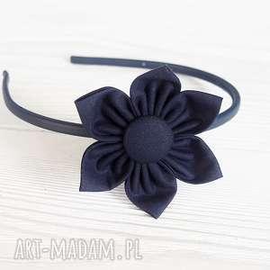 opaska do włosów z kwiatkiem granatowa, opaska, kwiat, ozdoba ozdoby włosów