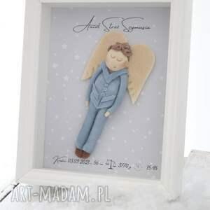 metryczka z aniołem dla chłopczyka, metryczka, anioł