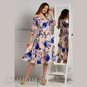 sukienka emma total midi flabia, midi, rozkloszowana, karo, kwiaty