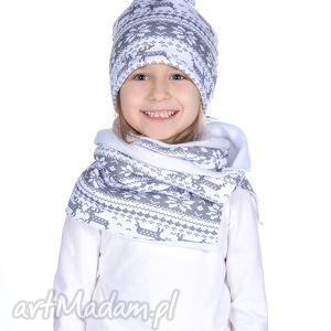 ciepły zimowy komplet czapka i komin, jesień, zima