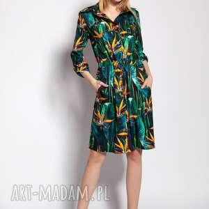sukienka zapinana na guziki, suk184 bambus, sukienka, wiązana, zapinana, wzór