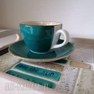 dobre myśli podane na tacy 1, ceramika rękodzieło, drewniana taca