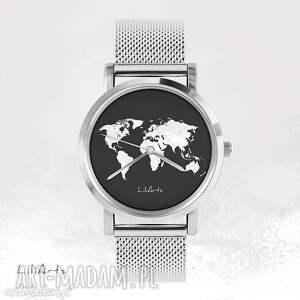 zegarki zegarek, bransoletka - mapa świata metalowy, bransoletka, metalowa