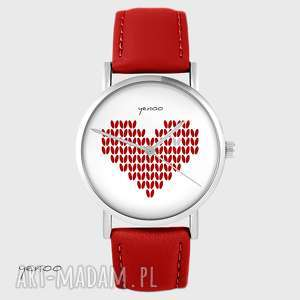 zegarki zegarek - serce dziergane czerwony, skórzany, zegarek, bransoletka