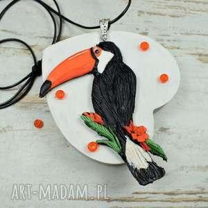 wisiorki tukan - duży wisior o regulowanej długości, biżuteria tukan