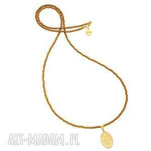 złoty długi naszyjnik z fasetowanego hematytu i medalikiem, naszyjnik, hematyt