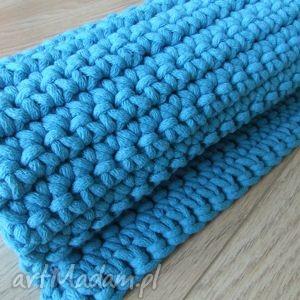 Turkusowy dywan ze sznurka 60 x 75 cm, dywan, chodnik, szydełko, dywan-ze-sznurka