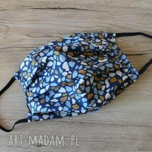 torebki niezwykle maseczka bawełniana - kamyczki granatowe, maska