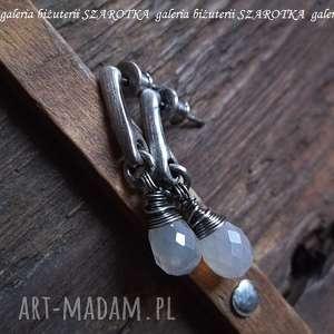 kolczyki perłowa mgła z chalcedonów i srebra, chalcedon, kropla, srebro